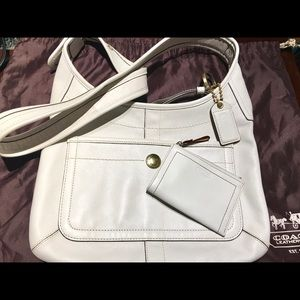 Authentic white coach bag and small wallet